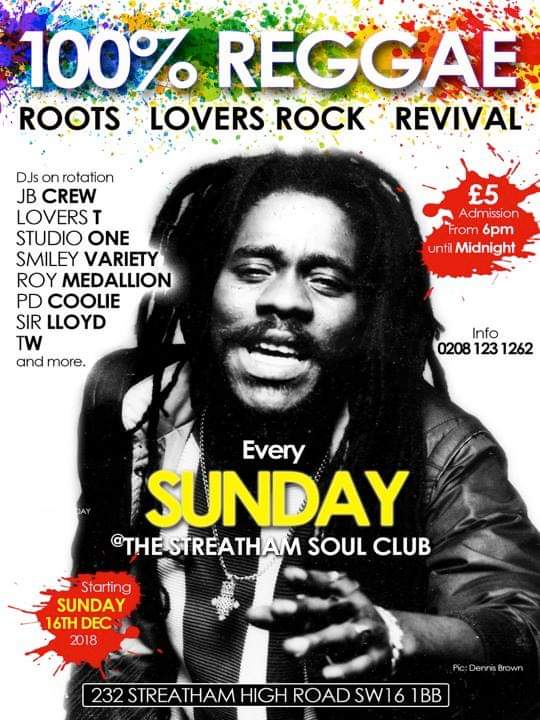 100% reggae party south London revival reggae lovers rock